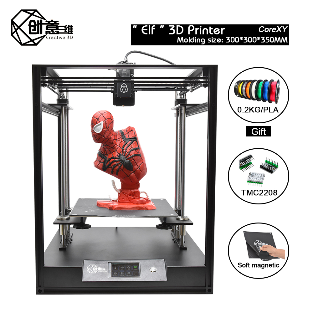 CoreXY Elf Dual Z-Axis 3D Printer High Precision Aluminum Profile Frame Large Area FDM Low noise with TMC2208 title=