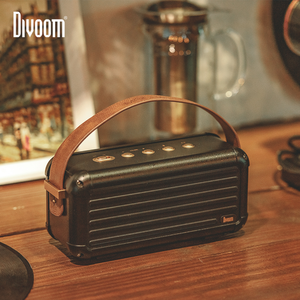 Divoom Mocha 40W Superior Bass Portable Wireless Bluetooth Speaker Retro Design 6 Drivers for 25h playtime Smart Home Decoration