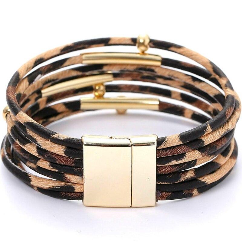 Leopard Bracelets For Women Bracelets & Bangles Elegant Multilayer Wide Wrap Bracelet Jewelry