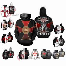 Cosplay Costume Hoodie Knight Templar Black Cross Sweatshirt Top Game Oversized 3d-Printing