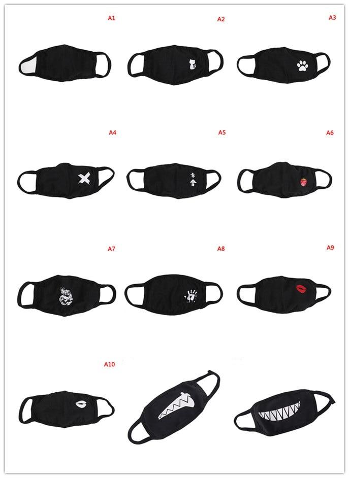 Unisex Cotton Mouth Mask Multi Styles Dust Respirator Fashion Black Face Masks Men Women Anti-Dust 1pc