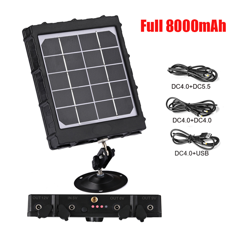 WG8000 Hunting Trail Cameras Solar Panel Charger 6v/9v/12v 8000mAh for feeder kit forest Game Cameras 1.7mm/DC2.1mm/USB adapter title=