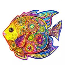 Unique Wooden animal Jigsaw Puzzles Mysterious Fish Puzzle Gift For Adults Kids Educational Fabulous Gift Interactive Games Toy
