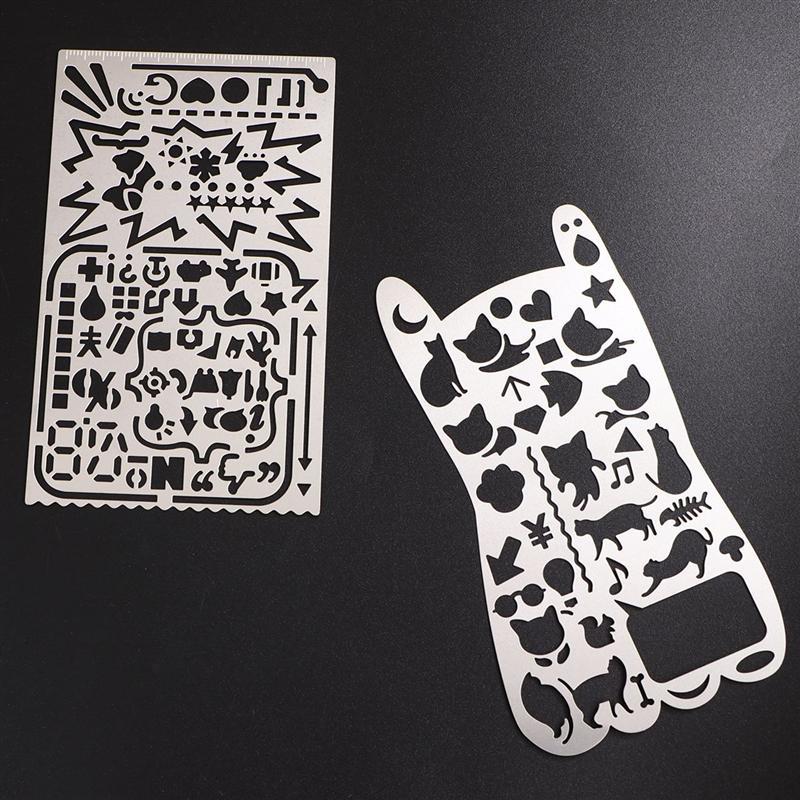 Plantillas de esqueleto de pl/ástico para /álbumes de recortes Uteruik Plantillas de dibujo para dibujo tarjeta de diario 1 unidad diario de recortes