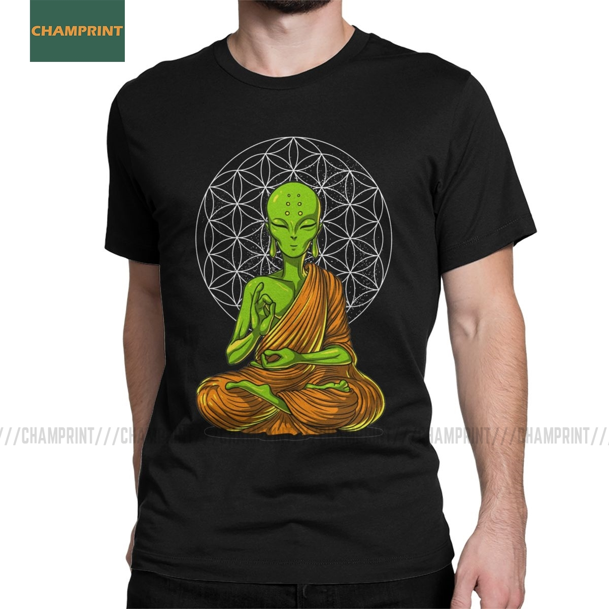 Men's Space Alien Zen Yoga Meditation T Shirt Spiritual Buddhism Pure Cotton Clothes Fashion Short Sleeve Tees Printed T-Shirt