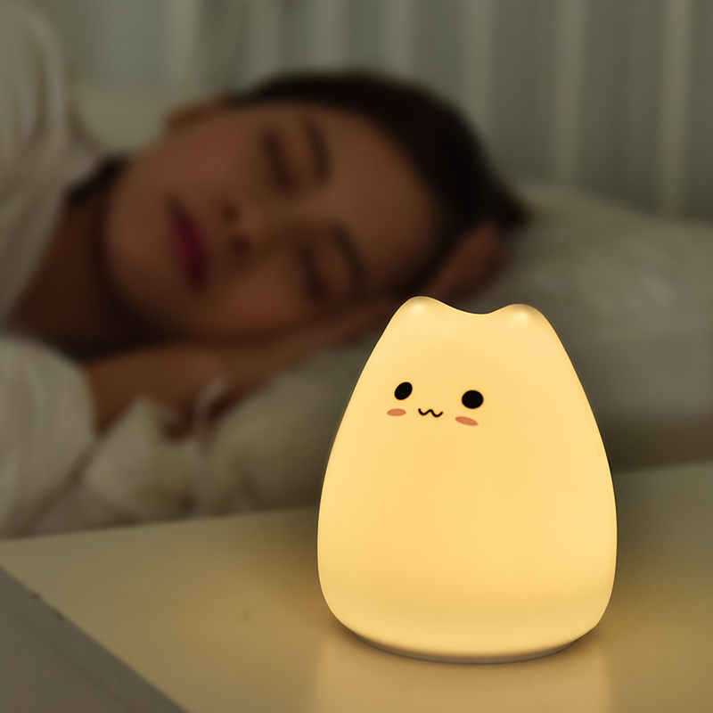 Cute LED Night Light Silicone Touch Sensor 7 Colors Cat Night Lamp Kids Baby Bedroom Desktop Decor Battery/USB Charge-01