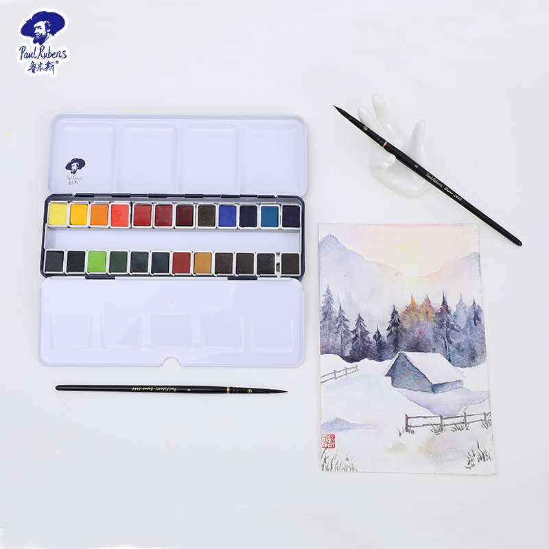 Official Paul Rubens Upgraded Solid Watercolor Set 12/24/48 Colors Portable for Art Students Pigment for Beginner