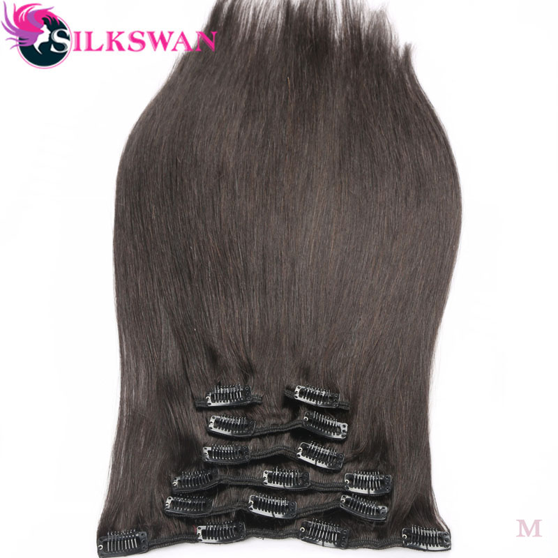 Human-Hair-Extension Clip-In Natural-Color Remy Straight Brazilian Full-Head-Sets Silkswan title=
