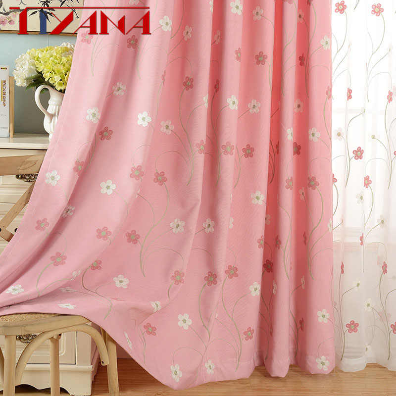 Pastoral Window Curtains For Princess Girls Bedroom Embroidered Pink Floral Curtain Blackout Drapes Tulle For Living Room P188&3