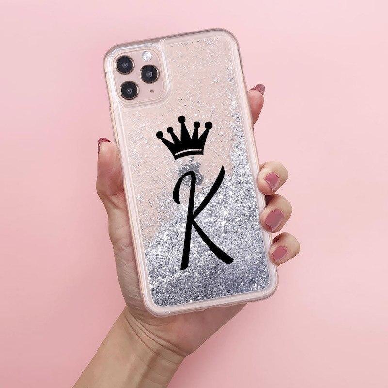 Iniziali personalizzate nome dalla A alla Z Crown Sparkle Liquid Cover per telefono con Glitter reali per iPhone 11 X XS XR Max Pro 7 8 7Plus 8Plus 6