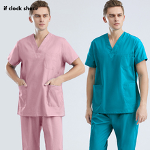 Nurse Scrubs Beauty Workwear Nursing-Uniform Short-Sleeved Clinic Hospital-Doctor Dental