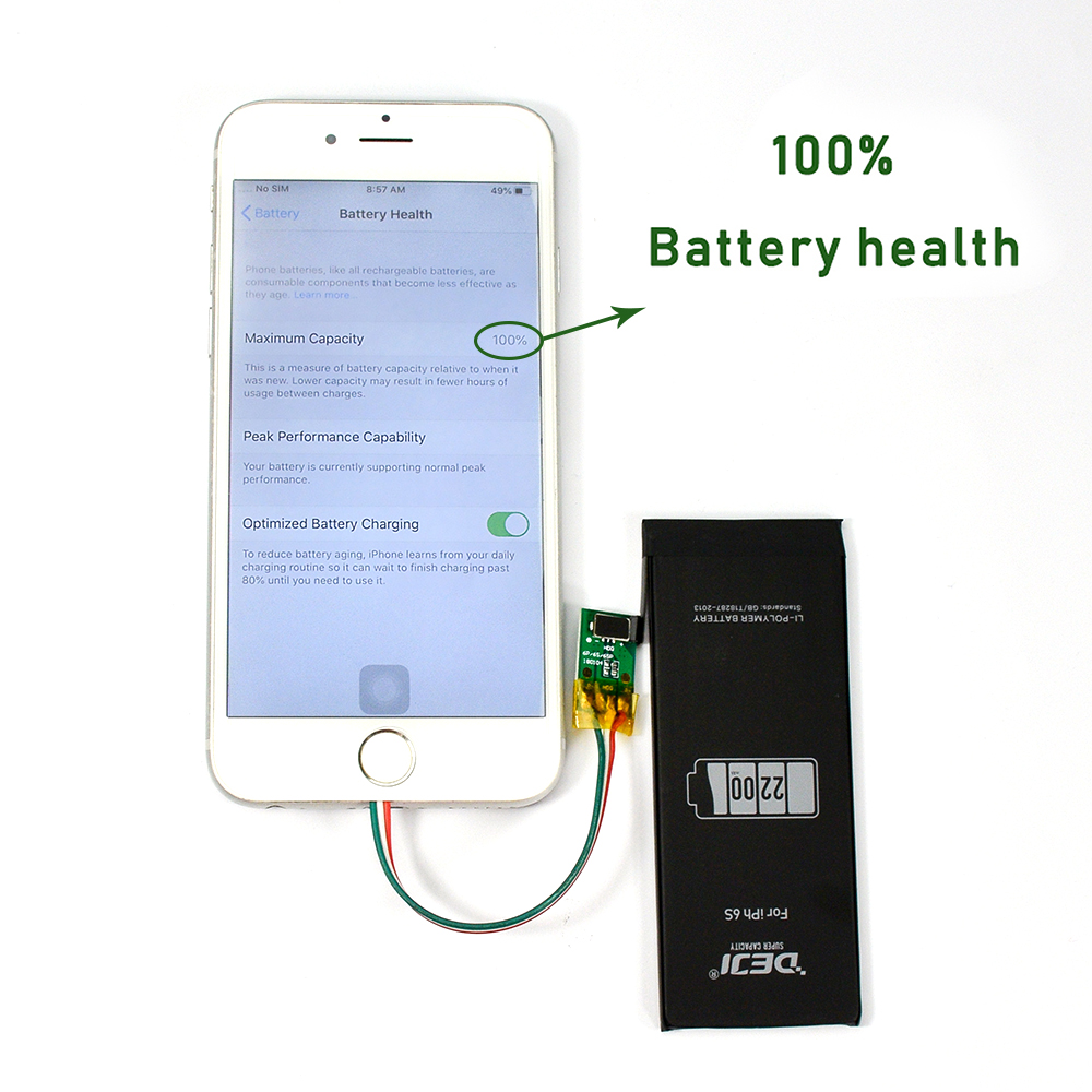 DEJI Original Lithium Battery For iPhone 5se 6 6s 7 X 8 6P With Free Tools Kit Real High Capacity Batteries Replacement 0 Cycle title=
