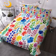 BlessLiving Floral Duvet Cover Set Colorful Flowers Bedclothes Watercolor Luxury Bedding Sets 3 Pieces Red Roses Comforter Cover(China)