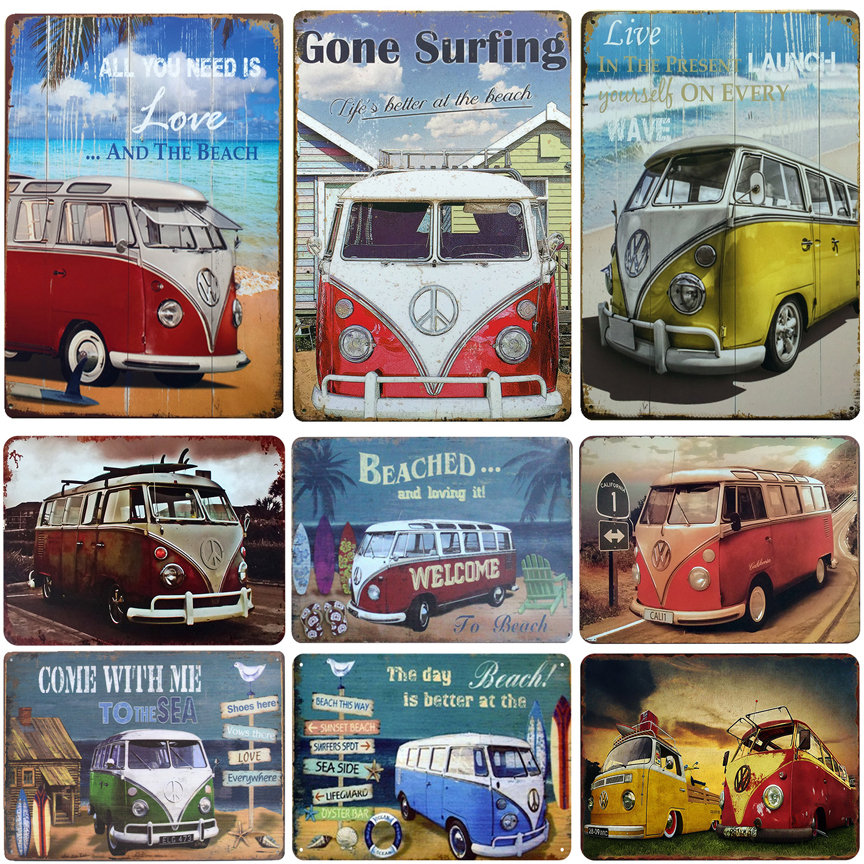 VW Campers retro vintage style metal sign//plaque man cave pub home bar