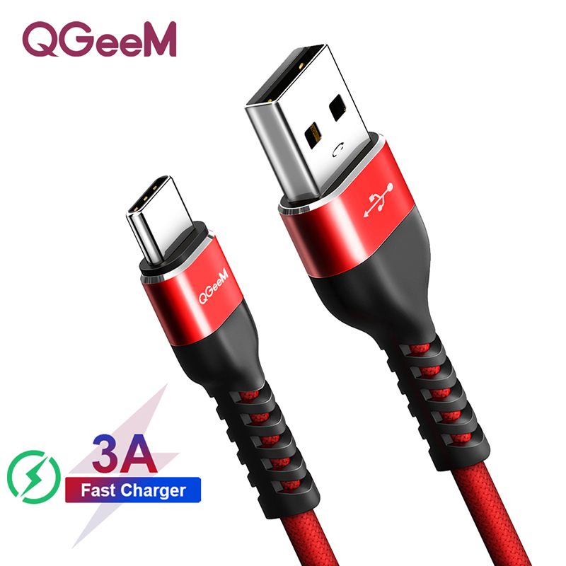QGEEM USB Type C Cable USB-C Mobile Phone Fast Charging USB Charger Cable for Samsung Galaxy S9 Huawei Mate 20 Xiaomi USB Type-C title=