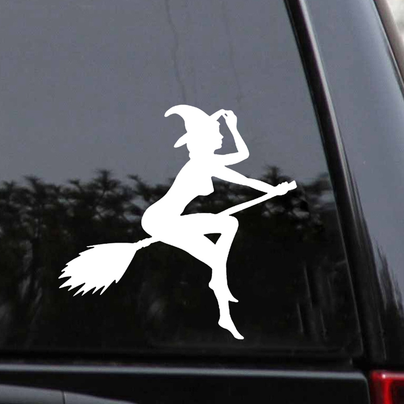 Halloween Car Sticker 12*11CM Cartoon Funny Witch Lady Girl Car Stickers Auto Decals Car Exterior Accessories Sticker