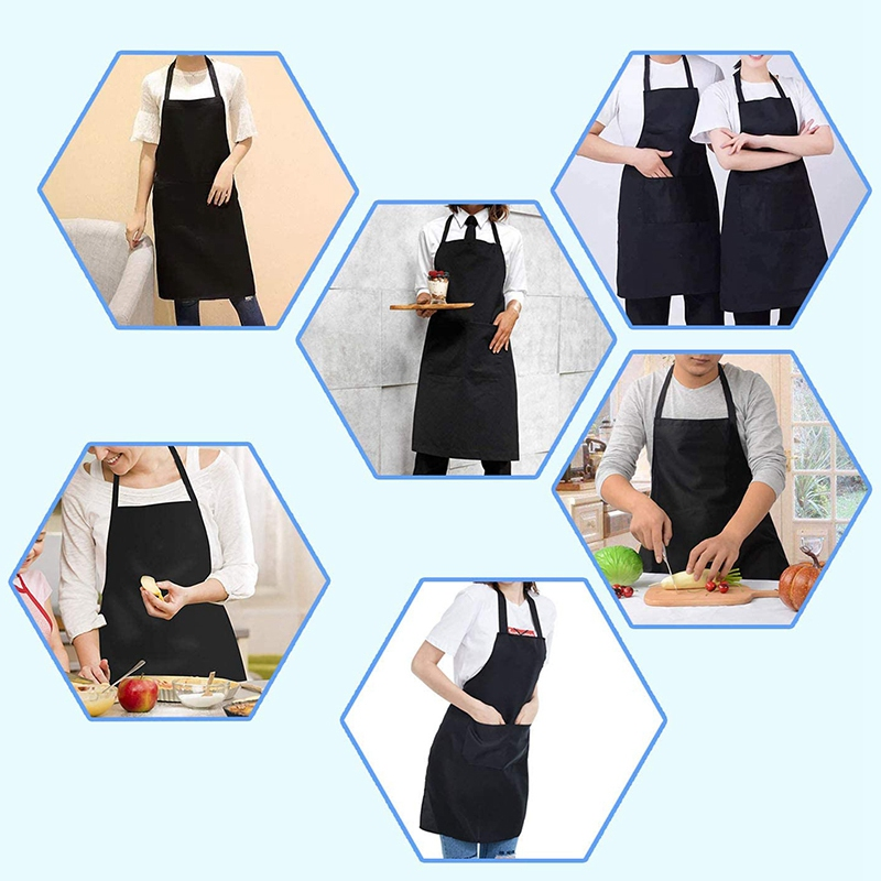 6 Pack Black Kitchen Apron with 2 Pockets Anti-Dirty Apron Suitable for Barbecue Kitchen Cooking Baking Restaurant