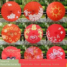 Paper-Umbrella Parasol Wedding-Silk Chinese-Style Sombrilla Red Hanfu Oiled