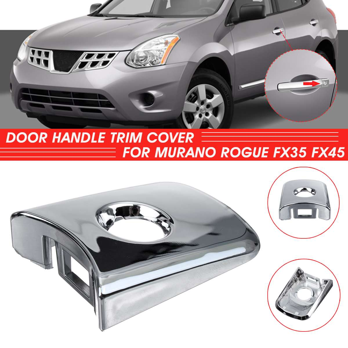 Outside Door Handle Trim W//O Keyhole For Front R Rear L//R Chrome Nissan Infiniti