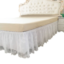 Bed Skirt Bedspread Lit Rufflled Decor Elastic Wedding-Couvre Lace for Flowers Without-Surface