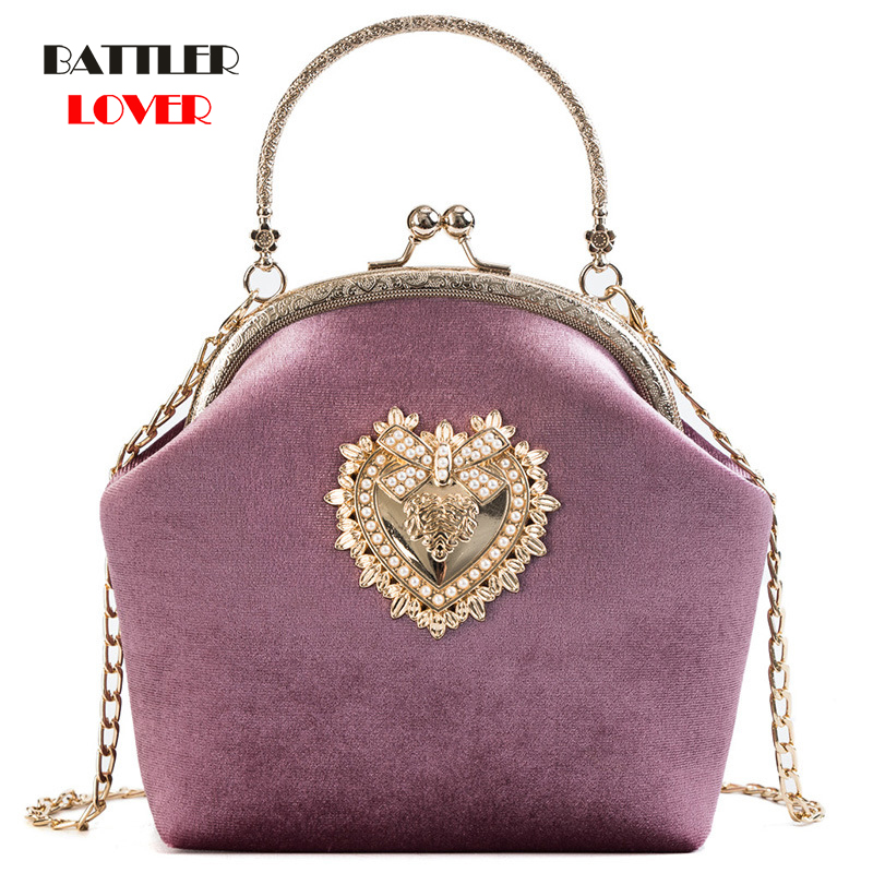 Female Velvet Pearl Handbag Vintage Velour Heart Design Evening Bag Womens Wedding Party Bride Clutch Velour Purse Shoulder Bags