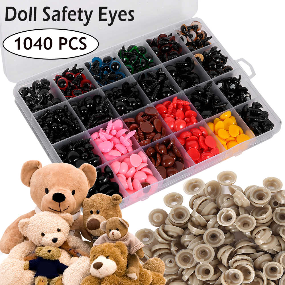 560pcs Plastic Safety Eyes Noses for Toys Doll Making Colorful Doll Eyes Black Eyes Safety Noses with Washer Screw Eye Multiple Sizes for Teddy Bear Plush Doll Stuffed Animal Soft Toy DIY Craft Making