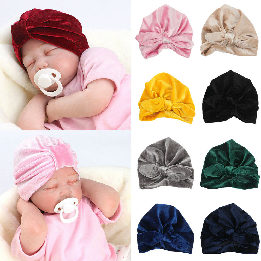 Beanie Hat Toddler Kids Winter Caps Indian Turban Baby Knotted Hat Soft Velvet