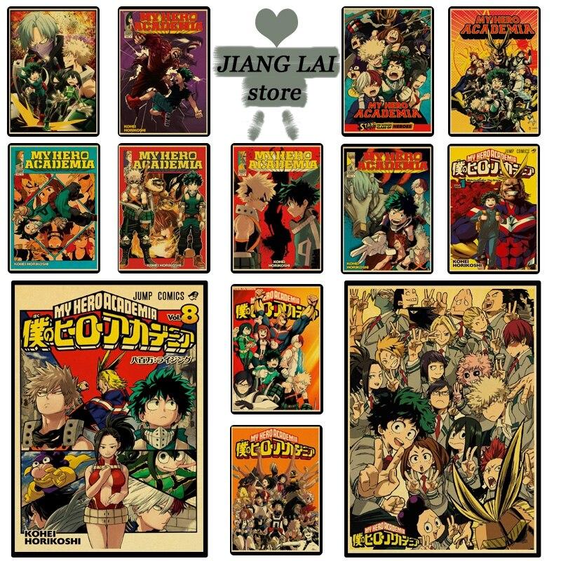 Anime My hero academy Midoriya Ikuhisa/Ormet Retro poster Kraft Paper Dorm room Wall Sticker Home Decor Painting poster