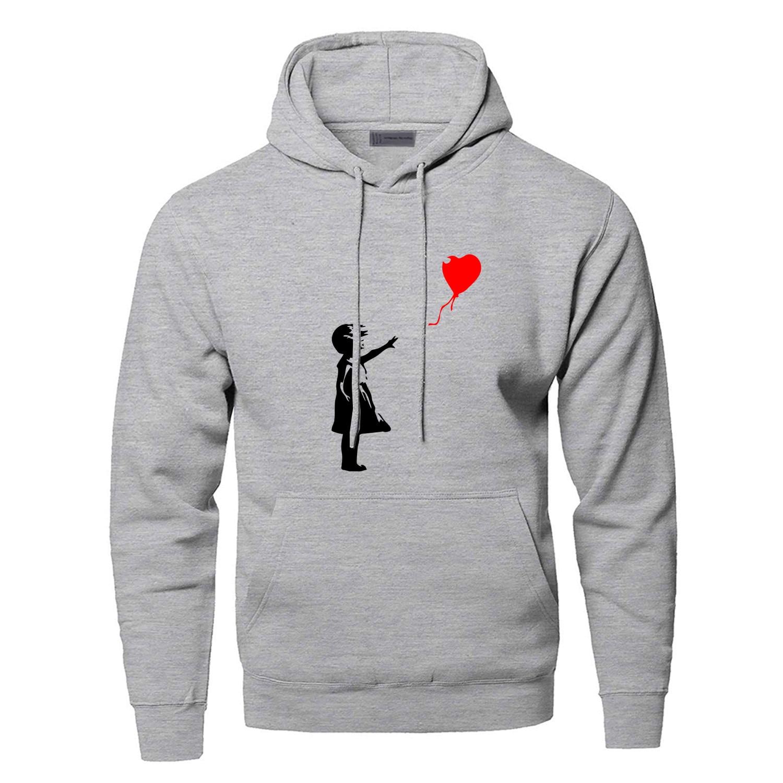 World Peace Hoodies Sweatshirts Men Kcco Balloon Girl Banksy Love Hooded Sweatshirt Hoodie Winter Autumn Warm Print Streetwear
