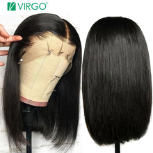 Bob Wig Short Human-Hair Glueless Lace-Front Pre-Plucked Straight Black Women Brazilian