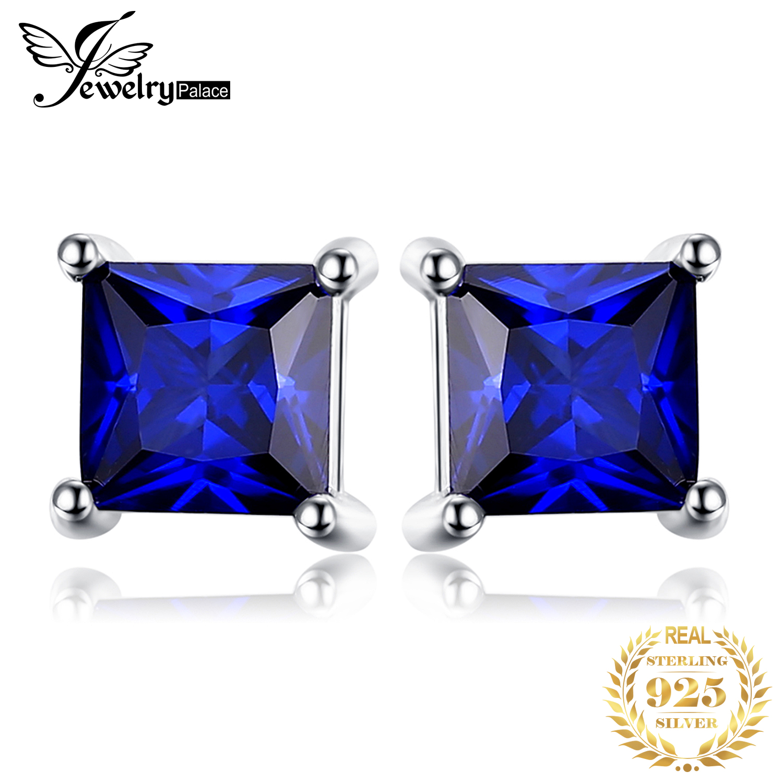 925 Silver 1.2ct Sapphire /& Diamond Oval Stud Earrings