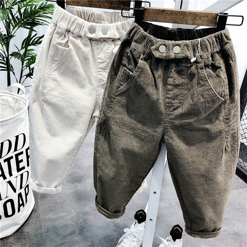 2 3 4 5 6 Years Toddler Boys Pants Autumn Winter Thicken Casual Trousers for Boy Kids Harem Pants New  Elastic Waist Baby Pants
