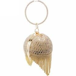 Женский вечерний клатч из страз, золотистая металлическая сумочка с кисточками из кристаллов, свадебная сумка через плечо, с браслетом на р...
