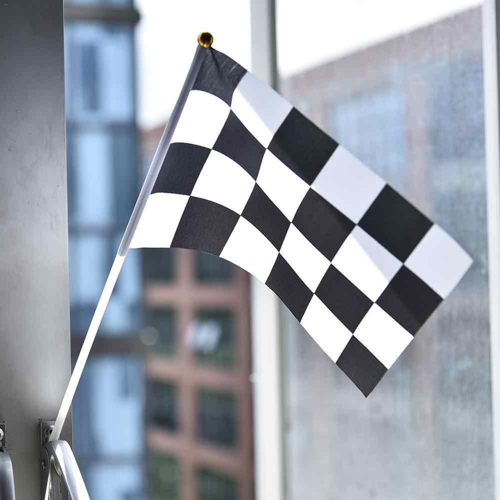 """BLACK AND /& WHITE CHECKERED HAND WAVING FLAG  9/"""" X 6/"""" wooden pole MOTOR SPORT"""