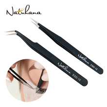 NATUHANA Eyelash Extension Tweezers Anti-static ESD Stainless Steel Curved Straight Eyebrow Tweezers Makeup Tools for Lashes