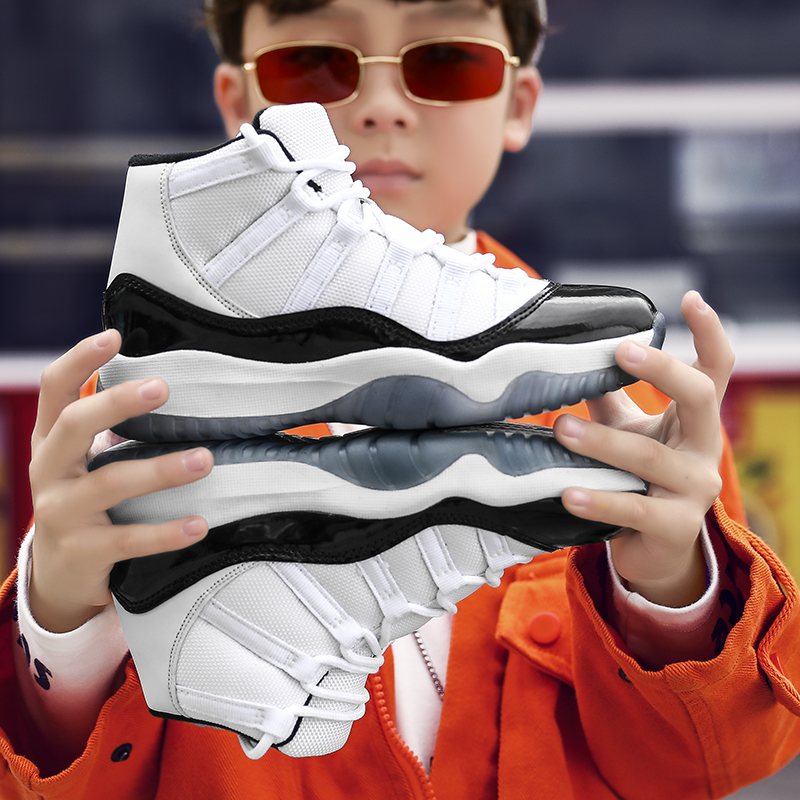 Sneakers Ventilate-Shoes Combat Boots Mesh Basketball Boys Kids Tranning New for High-Top title=