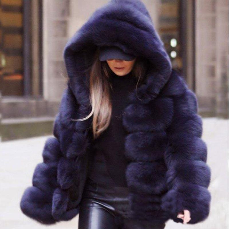2018 Winter Womens Vintage Warm Hood Fur Coats Mid Long Jakcets Overcoats Casual
