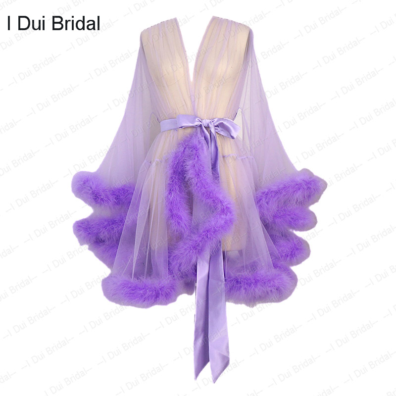Short Feather Robe Marabou Edgings Dressing Gown Bridal Boudoir Sheer Robe Tulle Illusion Birthday Feather Robe Costume