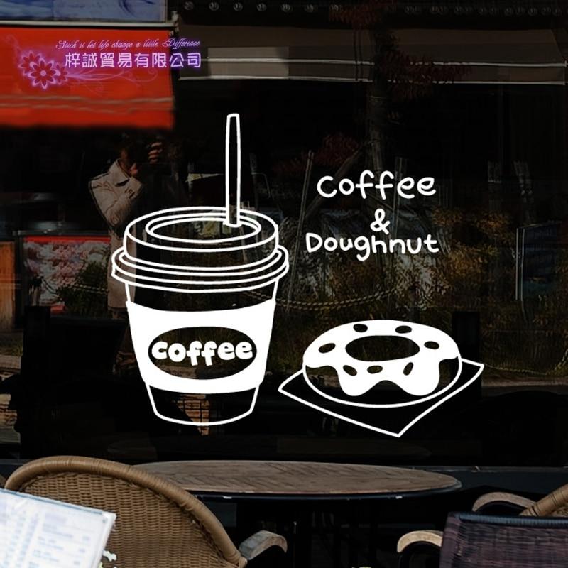 DCTAL Coffee Sticker Food Doughnut Decal Cafe Poster Vinyl Art Wall Decals Pegatina Quadro Parede Decor Mural Coffee Sticker