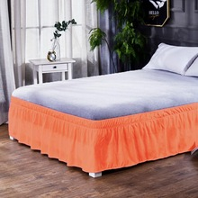 Bedding Skirt Pleated King-Size Elastic-Band Queen Ruffled for Without-Surface