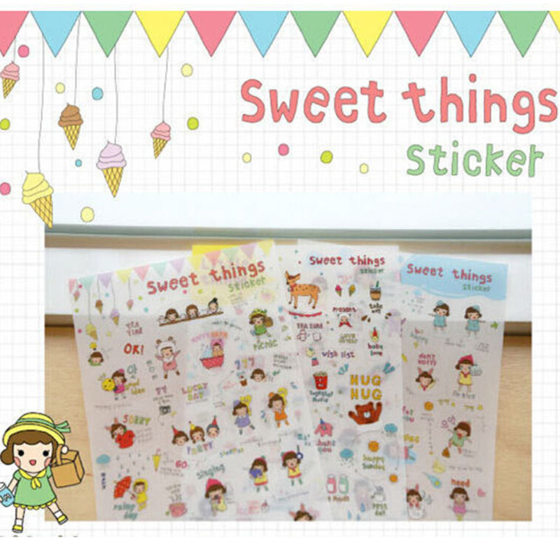 6 sheets/lot  Diy Decoration Sticky  Scrapbooking Memo Sticker Cute PVC Korean SWEET THINGS Phone Sticker