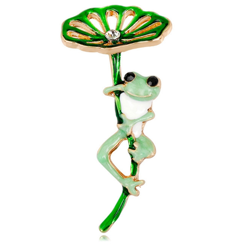 Green Lotus Frog Brooch Pin Women Corsage Collar Lapel Badge Jewelry Scarves Shawl Clip Lady Jewelry Bag Ornament Men Gift