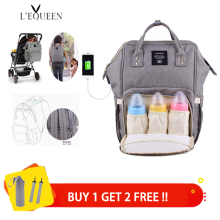 Lequeen Travel Backpack Diaper-Bags Nappy Mummy-Bags Waterproof Fashion USB with 2pcs