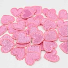 Diy-Accessories Clothes Stickers Iron-On-Patch Sewing Embroidered Pink Heart Love 20pcs