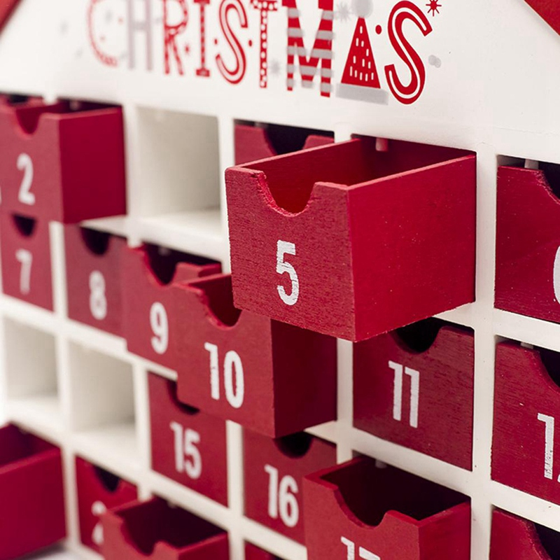 Christmas Wooden Calendar Decoration Countdown Calendar Box Children/'s Candy Gift Storage Box Creative Home Ornament