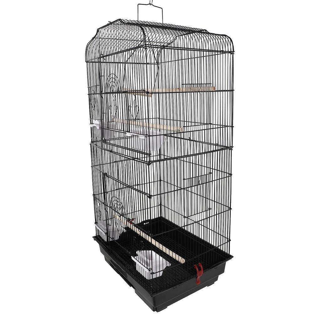 """Furniture - 37"""" Bird Parrot Cage Canary Parakeet Cockatiel LoveBird Finch Bird Cage with Wood Perches & Food Cups Black"""