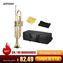 Trumpet Strap-Case Mouthpiece-Gloves Musical-Instrument Ammoon Brass Flat Bb with Bb-B