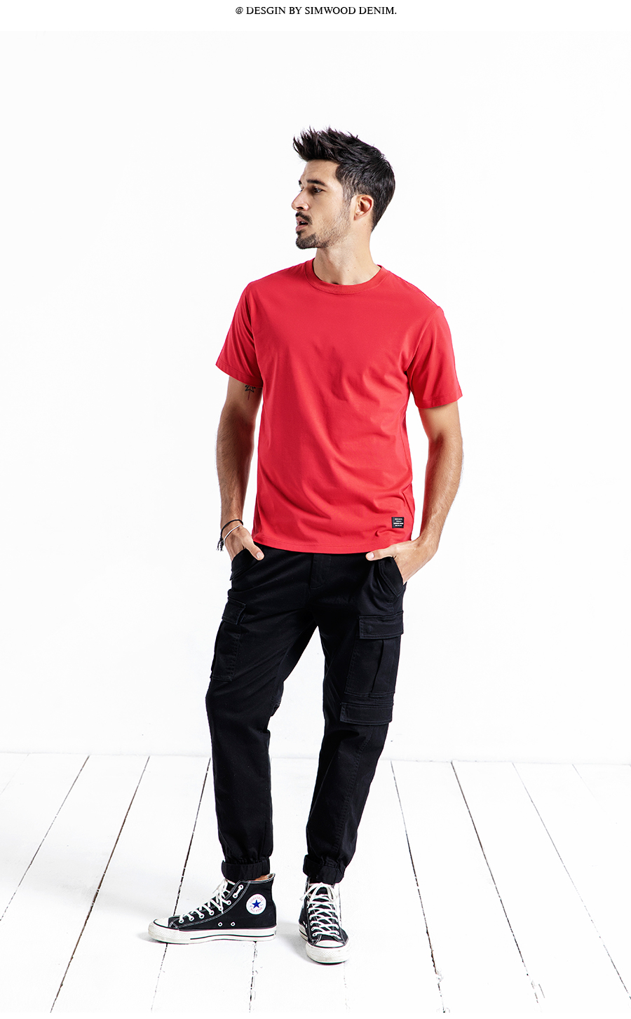 SIMWOOD 19 Summer New T-Shirt Men 100% Cotton Solid Color Casual t shirt Basics O-neck High Quality Plus Size Male Tee 190004 15