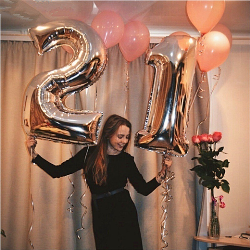 Balloon Party Party Decorations Suppies Large Size Big Number Balloon Aluminum Foil Digital Balloons Rose Gold Large Number Balloon 40 inch Number 9