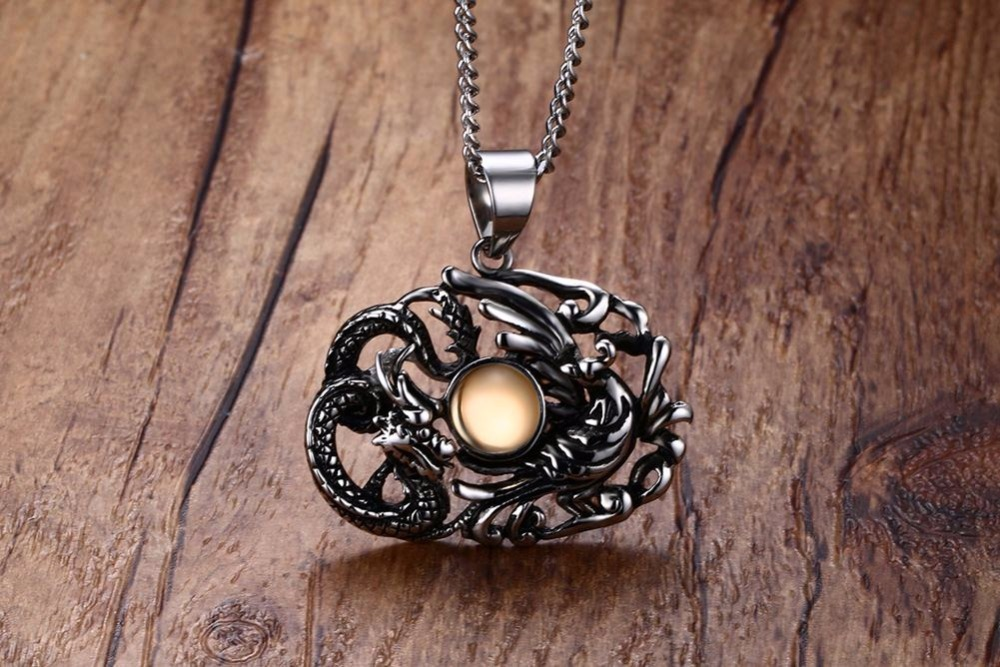 Chinese Feature Mens Necklaces Stainless Steel Dragon and Phoenix Pendant Necklace Men Vintage Punk Bike Jewelry Accessories collares collier colar choker 18